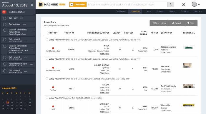 leads, machines, and calendar all organized on Machine Hub Inventory Management System